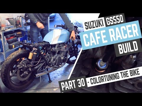 Cafe Racer Build 30, Suzuki GS550 Colortuning the engine.