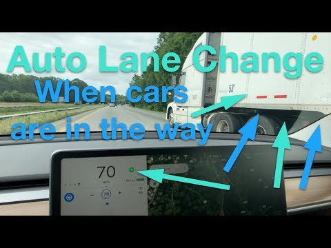 Tesla Auto Lane Change - car in the way