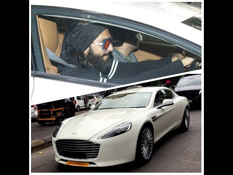 Ranveer Singh in his new Aston Martin