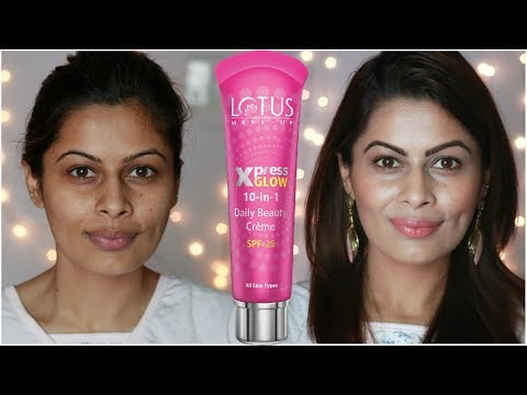 Lotus Xpress Glow 10-in-1 Daily Beauty Crème SPF 25 in X-2 Bright Angel Demo & Review | Kavya K