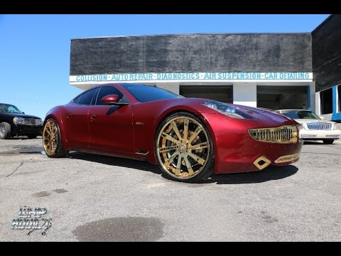 WhipAddict: Presidential Auto Source Gold Package on the Fisker Karma, All Gold Vellano 24s