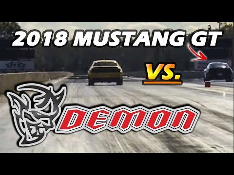 2018 Mustang GT BEATS Dodge Demon In 1/4 Mile
