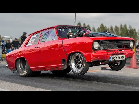 Turbo Opel SWITCHES LANES Doing a Wheelie…Guy is CRAZY!