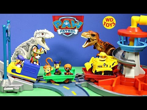 New PAW PATROL Nickelodeon Launch and Roll Lookout Tower / Jurassic World Dinosaurs Unboxing WD Toys