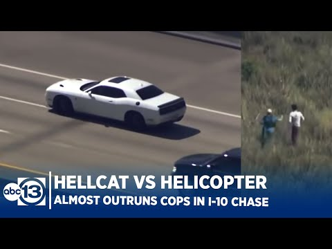 Stolen Dodge Hellcat hits 200MPH in Houston Police Chase! Driver Almost Makes it