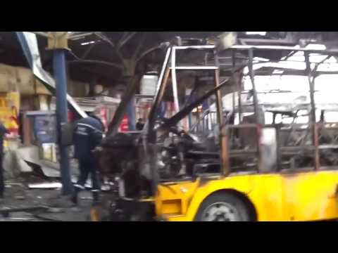 Ukraine 11 02 2015,Artillery shelled the bus station center of Donetsk there are dead and injured