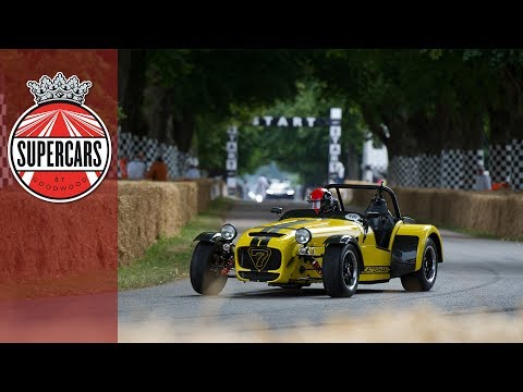Outrageous sliding Caterham hill climb at FOS