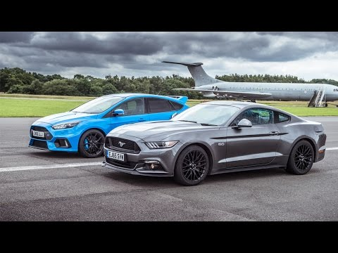 Ford Mustang vs Ford Focus RS - Top Gear: Drag Races