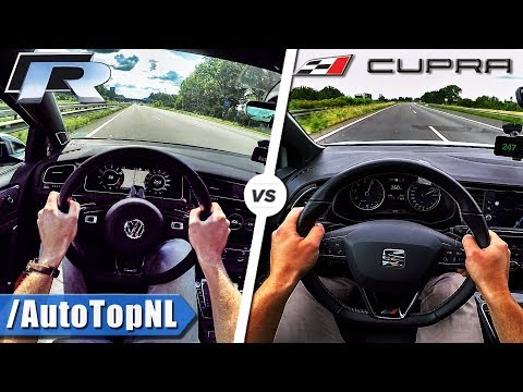 VW Golf R 310HP vs 300HP Seat Leon Cupra | ACCELERATION TOP SPEED POV & SOUND by AutoTopNL