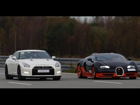 [4k] RACE Nissan GTR Alpha 12 vs Bugatti Veyron Vitesse 1200 HP Highspeed Oval SHORT VERSION (7 min)